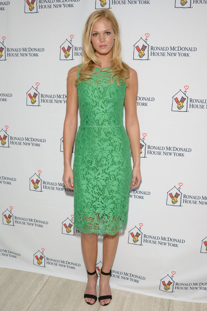 Erin Heatherton opted for a ladylike, lace sheath in a wash of pretty green at a Ronald McDonald House charity event.