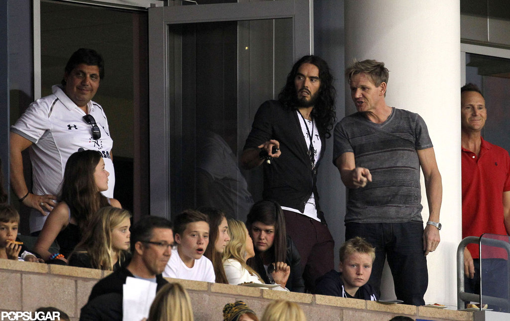 Victoria and Harper Cheer On David With the Ramsays and Russell Brand
