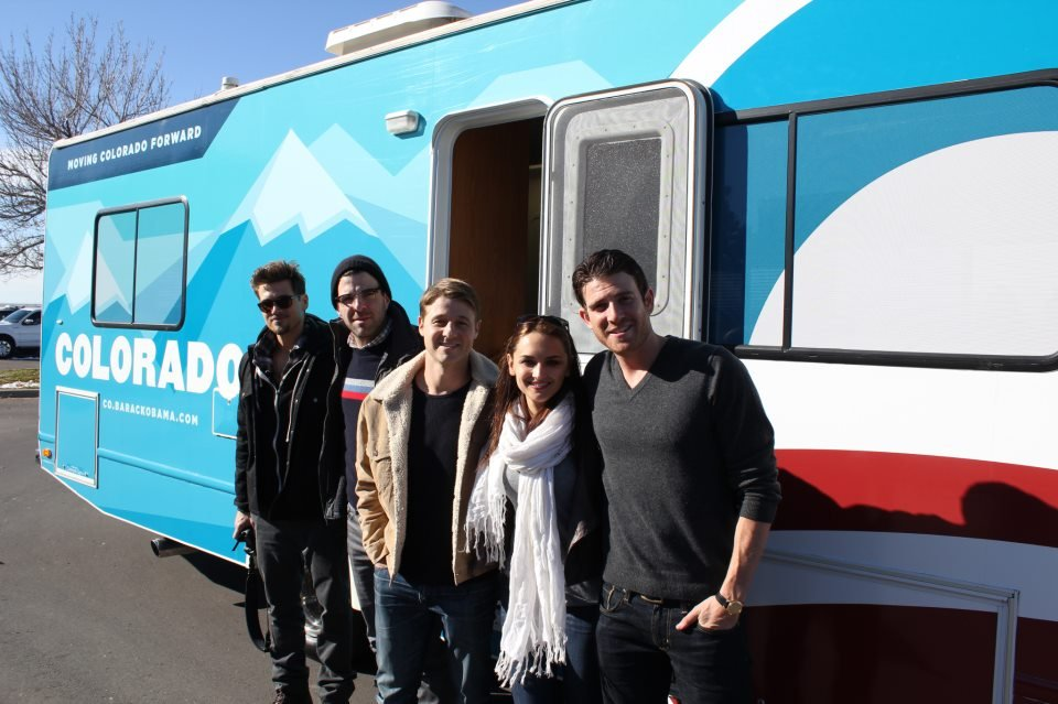 Nick Zano, Zachary Quinto, Ben McKenzie, Rachael Leigh Cook and Bryan Greenberg gathered to promote early voting in Colorado. Source: Facebook user Obama For America