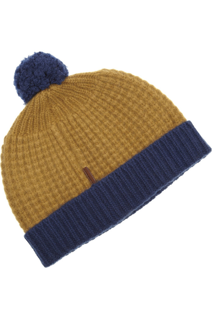Go with an old-school beanie — this Burberry waffle-knit beanie ($250) is along the lines of what we're thinking — for a classic play on cold-weather dressing.