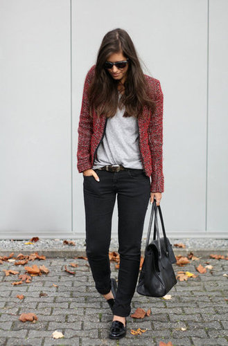 Update a casual look with Fall-perfect layers — this tweedy, red jacket has just the right downtown-cool vibe to finish off loafers and denim. Source: Lookbook.nu