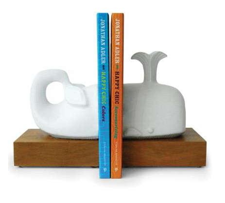 Accessorize your books and your bookcase with these geometric Jonathan Adler Whale Bookends ($150).