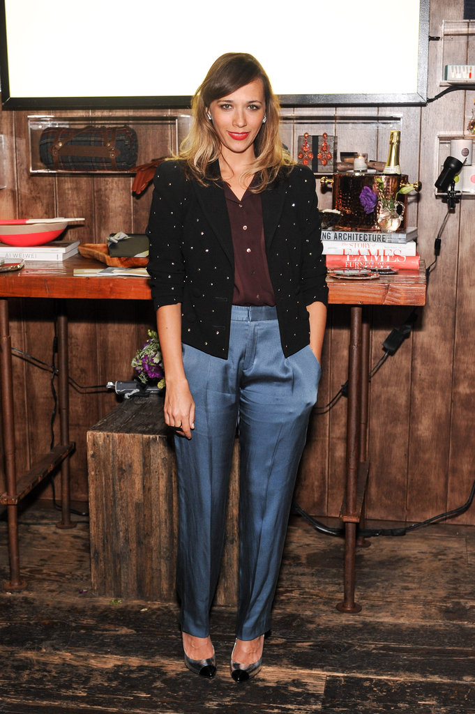 Rashida Jones wore blue silk pants for the Wantful: The Art of Giving event in LA.