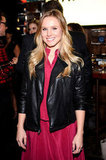 Kristen Bell wore a red dress and black leather jacket.