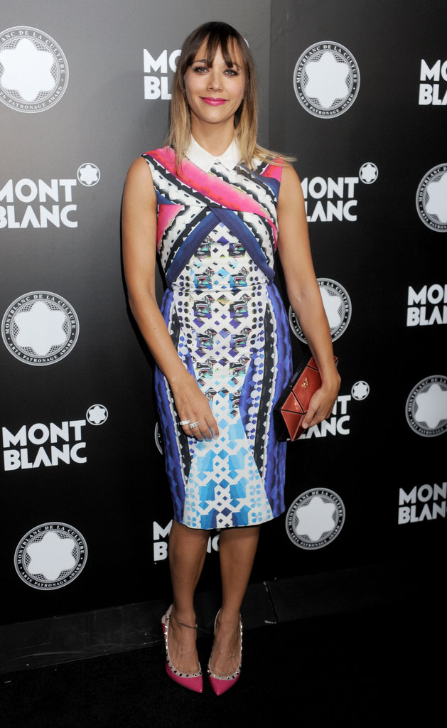 Rashida Jones stepped out for a party honoring her father Quincy early in the month in a printed knee-length Peter Pilotto dress with studded Valentino pumps.