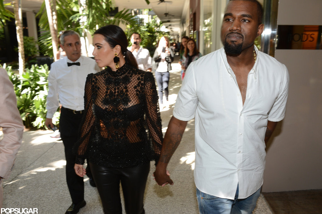 Kanye West led the way as he walked with Kim Kardashian.