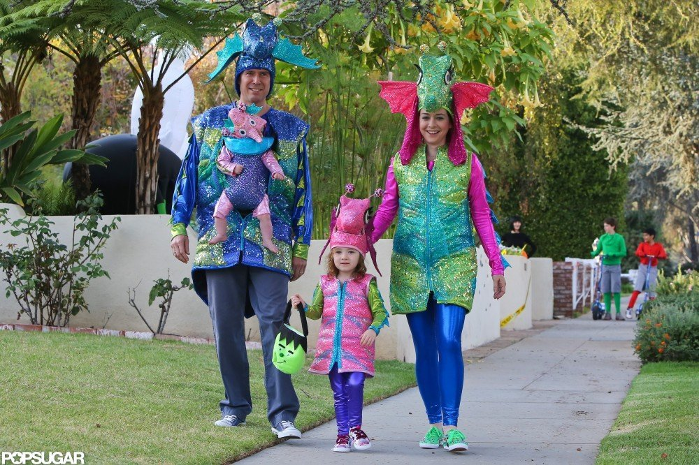 Alyson Hannigan and Alexis Denisof took kids Satyana and Keeva trick-or-treating in LA  in 2012.