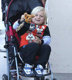 Gwen Stefani's son Zuma smiled in his stroller.
