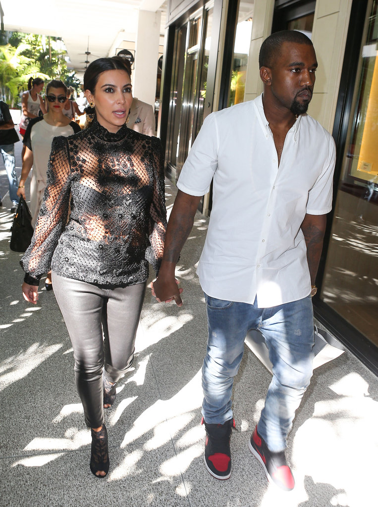 Kim Kardashian and Kanye West held hands in Miami.