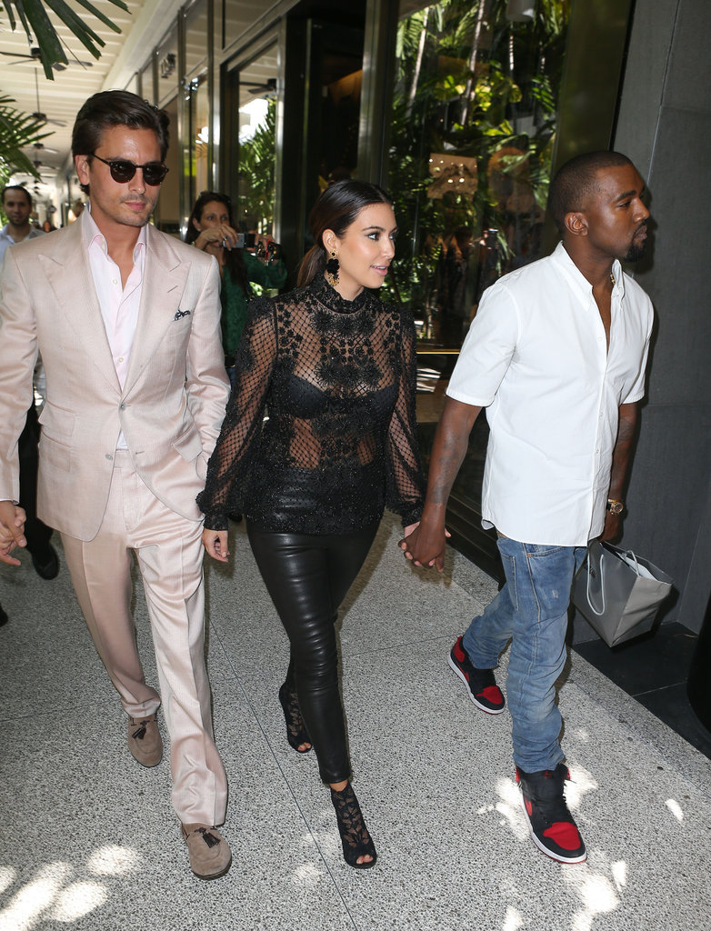 Kim Kardashian walked with Kanye West and Scott Disick.