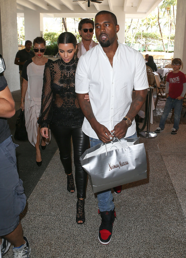 Kim Kardashian and Kanye West went out together in Miami.