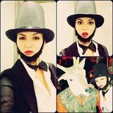 Victoria Justice wore a beard and top hat on Halloween. Source: Instagram user victoriajustice