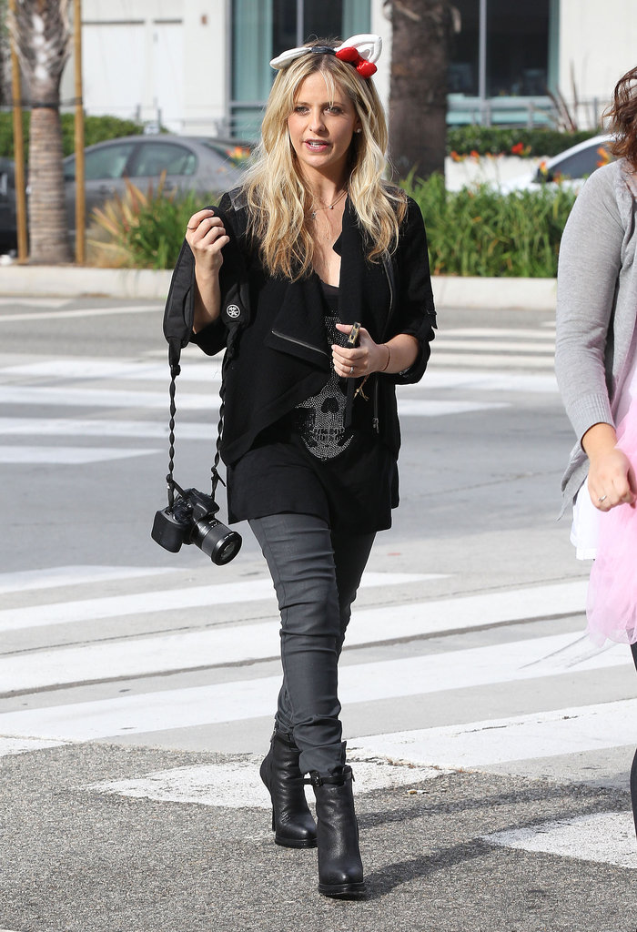 Sarah Michelle Gellar sported a pair of ears while dropping off her daughter, Charlotte Prinze.