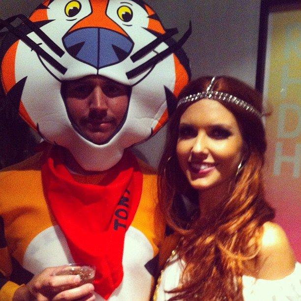 Audrina Patridge cuddled up to Tony the Tiger.  Source: Instagram user audrinapatridge