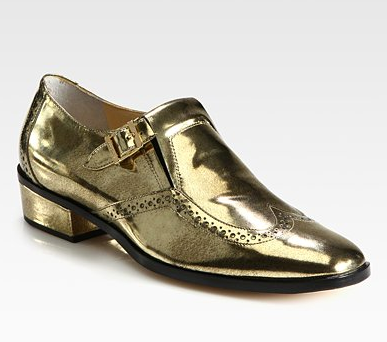 These Jimmy Choo Metallic Leather Buckle Oxfords ($895) give off a more literal menswear-inspired look. Make them more girlie via a ladylike dress.