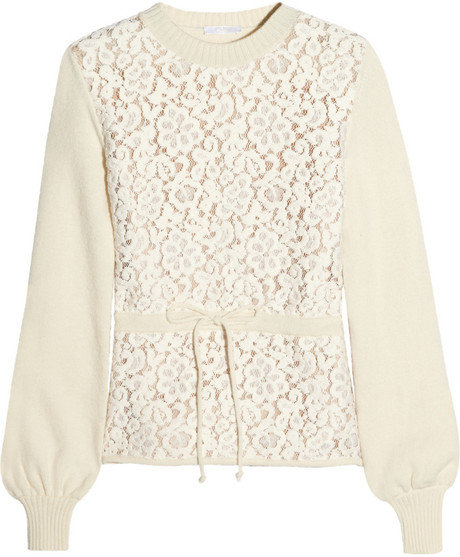 We can't get enough of the romantic detailing on this Chloé Floral-lace and wool-blend sweater ($1,250).