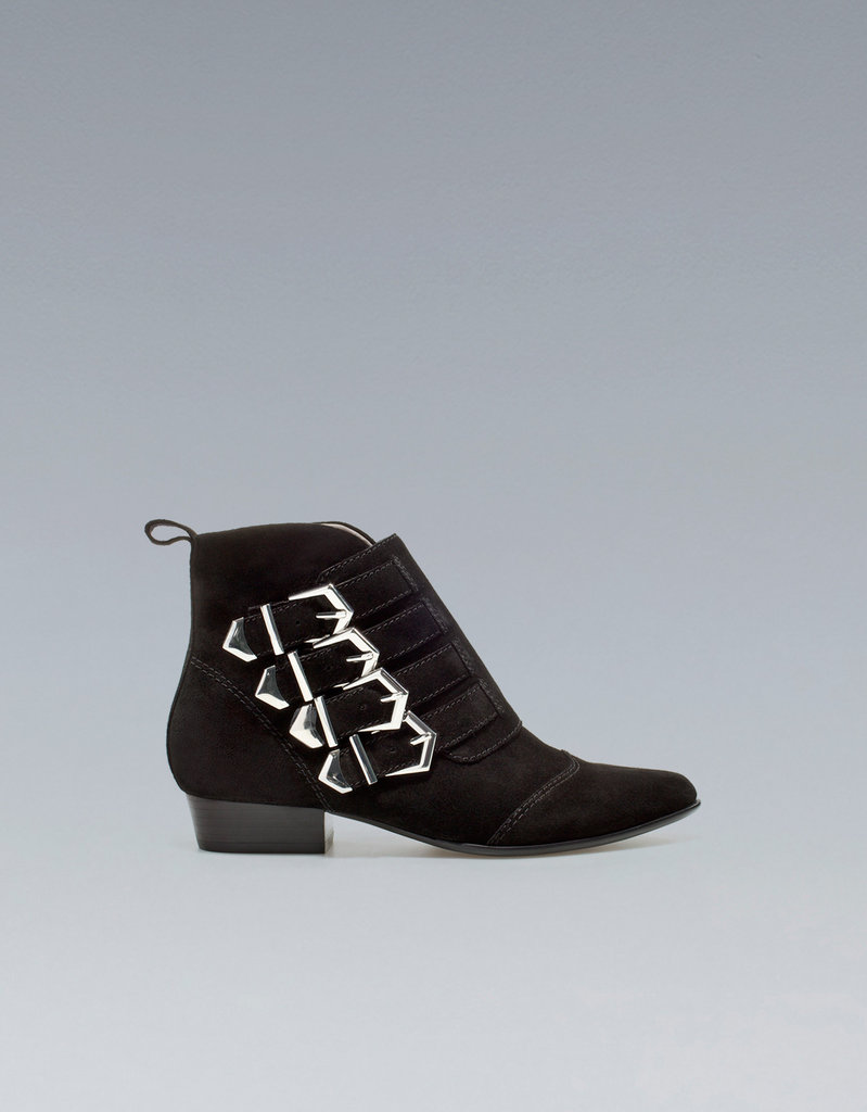 The supple suede on these Zara Flat Ankle Boots With Buckles ($129) makes them a covetable find at a pretty reasonable price.