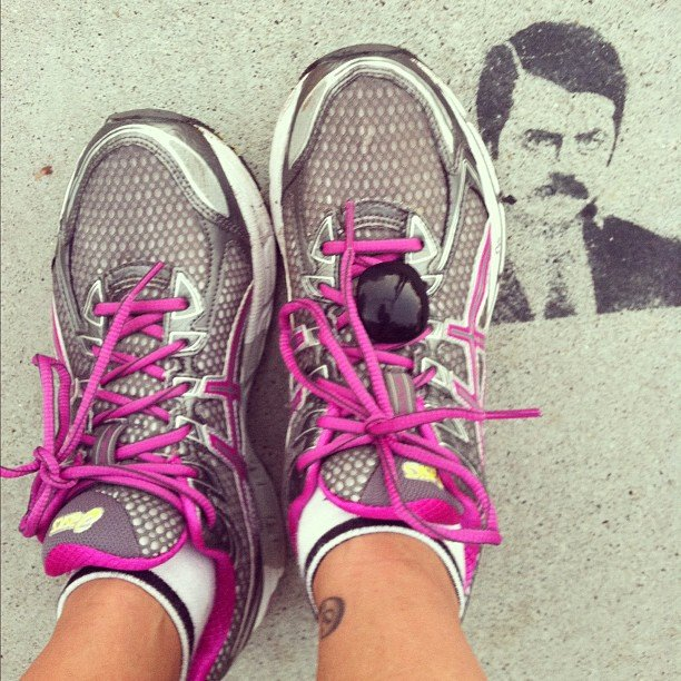 With Ron Swanson and a pedometer in the mix, there are a lot of eyes measuring this workout. Source: Instagram user nancyein