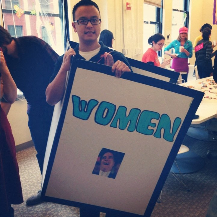 Designer Apparel's Vincent went with a topical meme: Binder Full of Women.