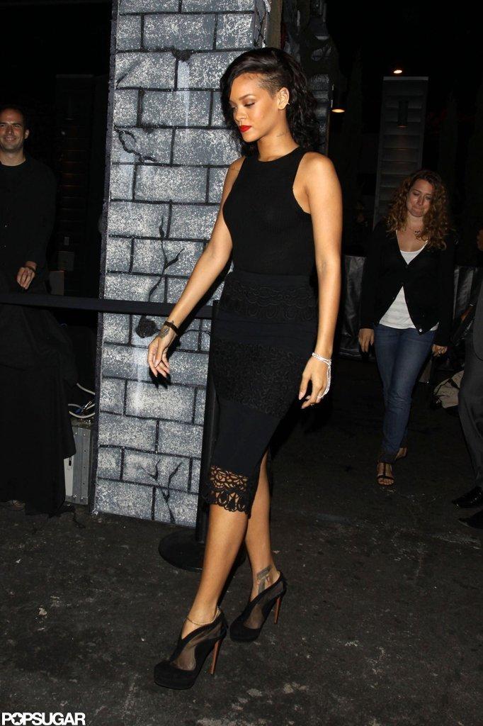 Rihanna arrived at Greystone Manor.