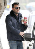 Ben Affleck juggled a couple of coffees.