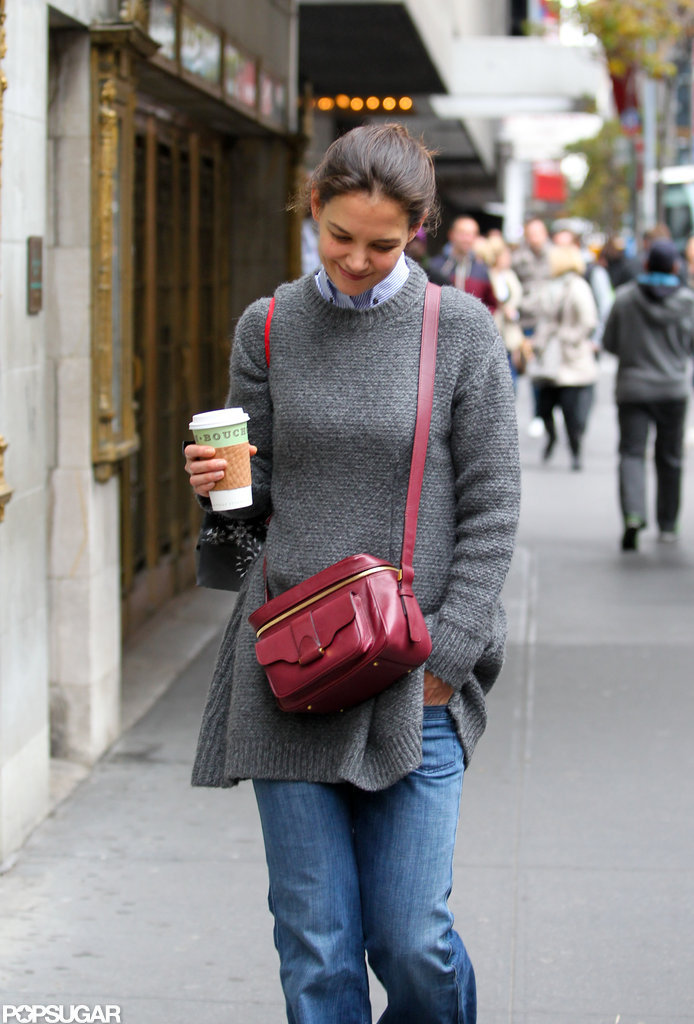 Katie Holmes carried a crossbody bag.