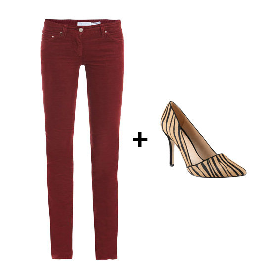 Punch up a pair of colored cords — we especially love Étoile Isabel Marant's Iti Skinny Corduroy Trousers ($201) — with a printed heel, like the Aldo Romelia Pumps ($75, originally $100).