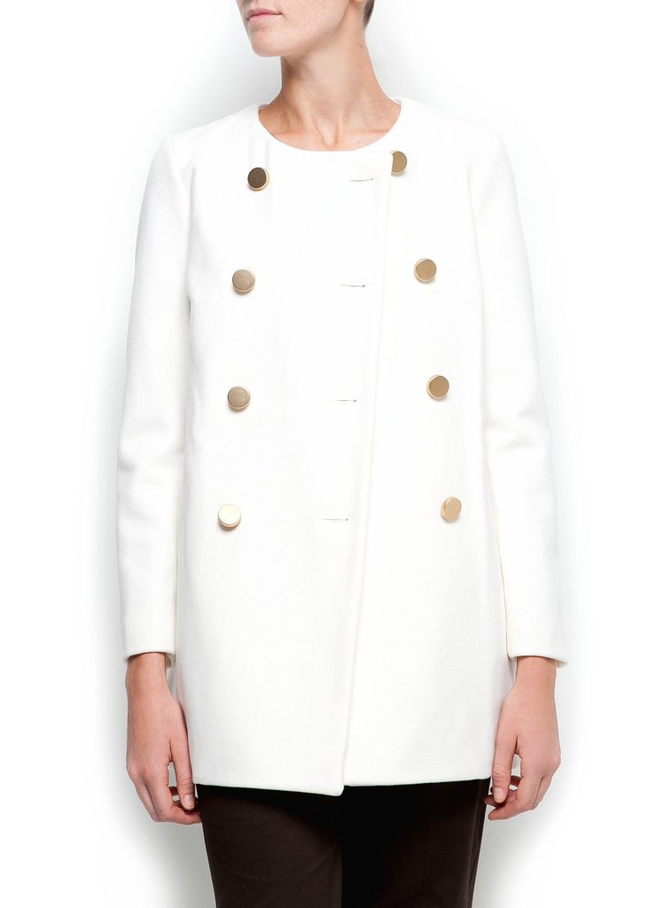 The collarless detail and bracelet sleeves on this Mango Double Breasted Wool Coat ($60) give this coat a refined, ladylike feel.