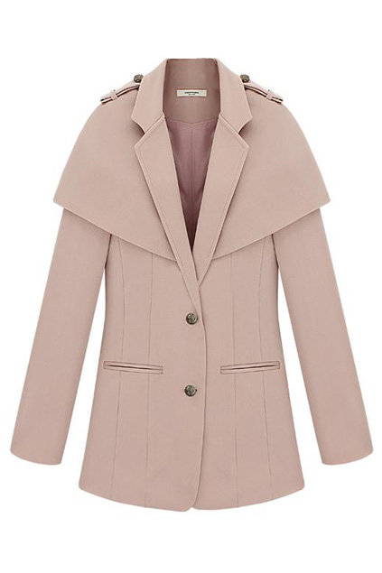 The tailored cape detail and blush hue on this Romwe Cape Coat ($136) are equal parts feminine and fierce.