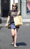 Since LA stays temperate year-round, the actress can wear this bag with denim skirt silhouettes as often as she chooses.