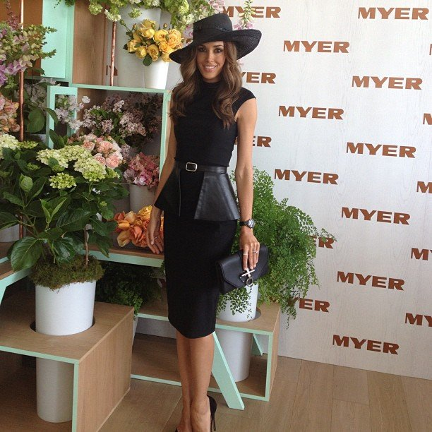 Rebecca Judd in Arthur Galan dress and Richard Nylon hat. Source: Twitter user becjuddloves
