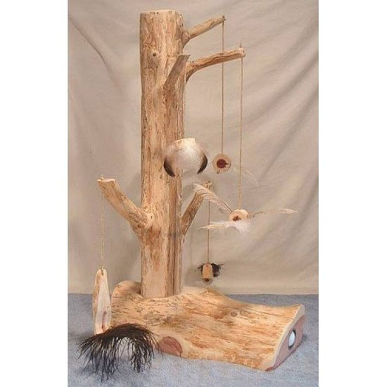 As seen on The Martha Stewart Show, this scratching post with dangling toys ($130) is an eco-friendly choice, made from 100-percent all-natural, aromatic red cedar.