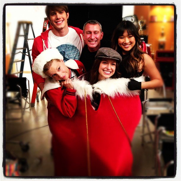 The stars of Glee got into the holiday spirit (and a giant stocking). Source: Instagram user adamshankman