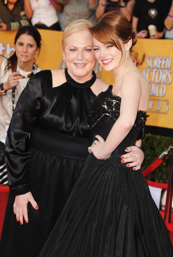 Emma Stone and her mum, Krista, made a smiley pair on the red carpet at the SAG Awards in January 2012.