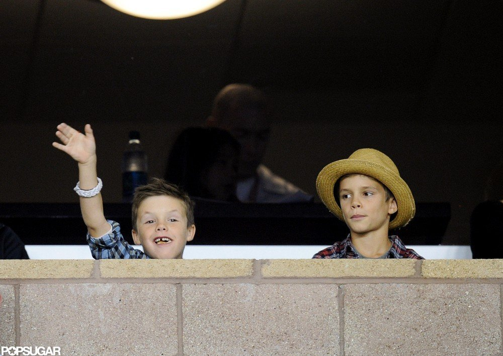Romeo Beckham and Cruz Beckham cheered at their dad David Beckham's playoff game.