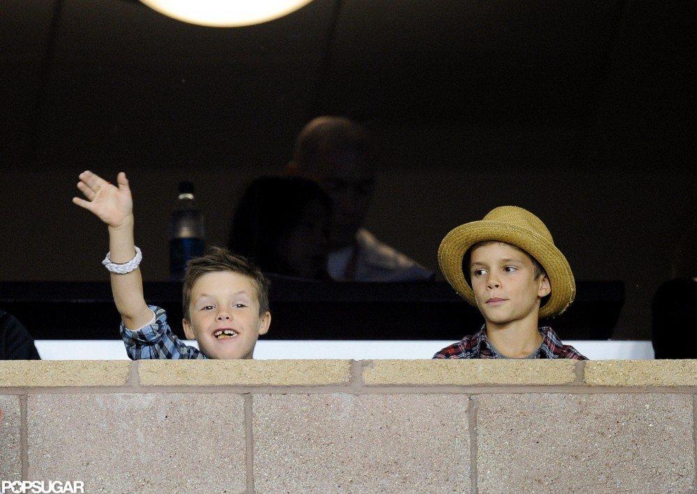 Romeo Beckham and Cruz Beckham cheered at their dad David Beckham's playoff game.