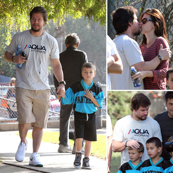 Mark Wahlberg and Rhea Durham Swap Sideline Kisses in LA