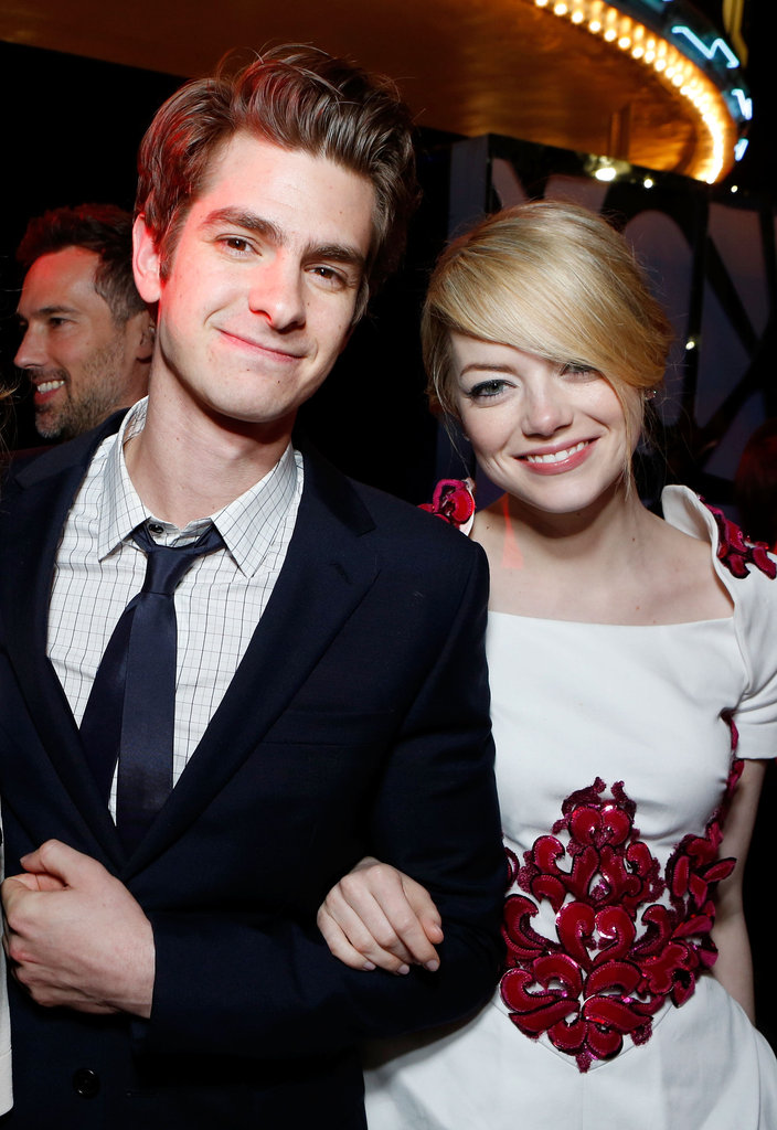 Emma Stone looked especially happy while walking the red carpet with Andrew Garfield at the June 2012 premiere of The Amazing Spider-Man.