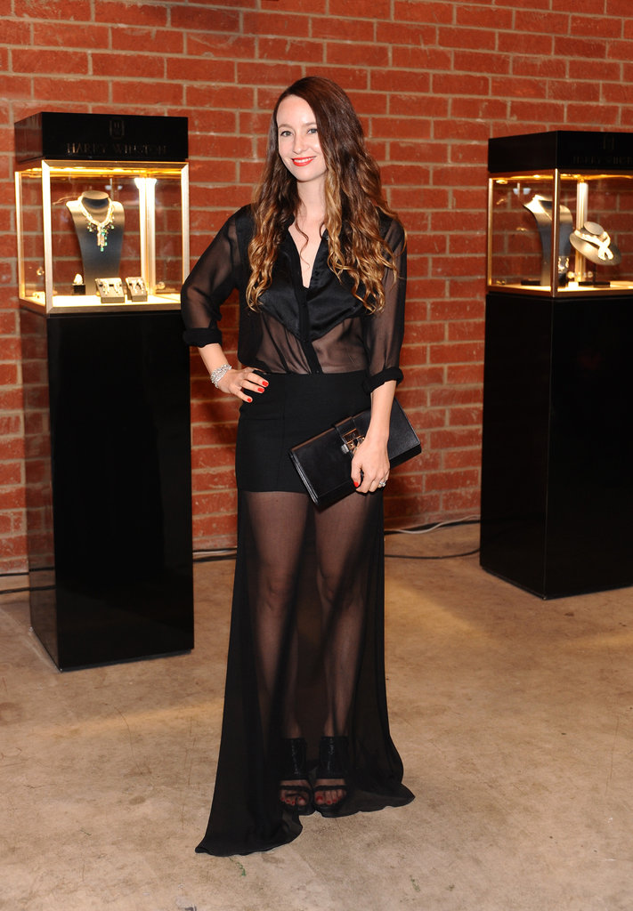 Designer Jenni Kayne showed off her figure in a sheer black gown.