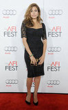 Eva Mendes perfected the bombshell look in her lace, curve-conscious Dolce & Gabbana sheath at the AFI Fest. 8992359