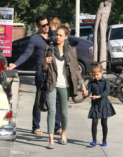 Jessica Alba held hands with Honor Warren as Cash Warren carried Haven Warren while out for a family breakfast in LA.