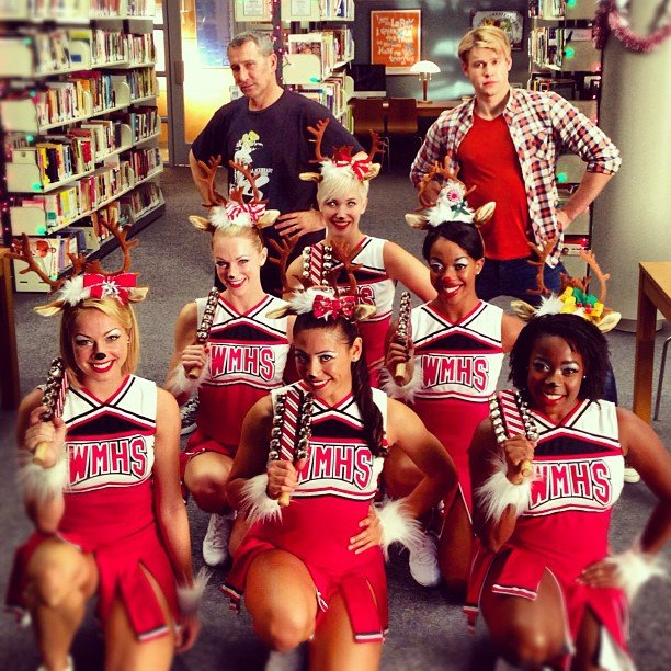 Adam Shankman and Chord Overstreet posed with Glee's reindeer, er, cheerleaders. Source: Instagram user adamshankman