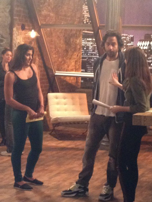 Whitney Cummings tweeted a picture of Whitney guest star Hope Solo rehearsing a scene. Source: Twitter user whitneycummings