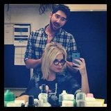 Pretty Little Liars' Ashley Benson got ready for work, with a little help. Source: Instagram user itsashbenzo