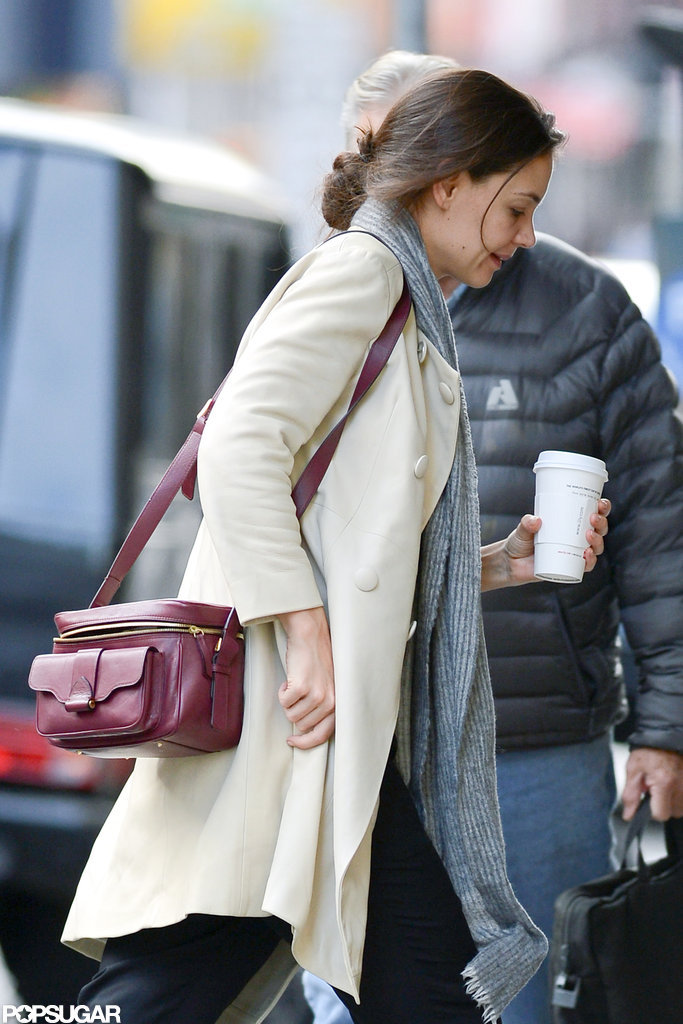 Katie Holmes carried her coffee cup as she walked.