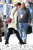 Katie Holmes sported a pair of ankle boots as she grabbed a coffee.