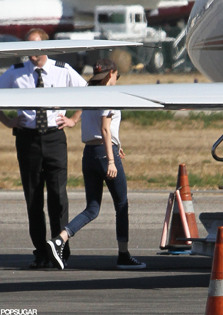 Kristen Stewart boarded a private plane.