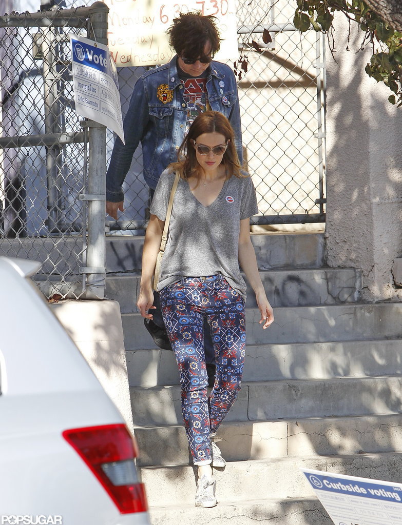 Mandy Moore and her husband Ryan Adams put their vote in at a poll station in LA.