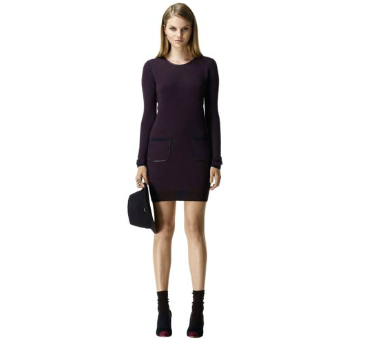 For the casual girl, this laid-back take on sweater dressing is a sophisticated choice, thanks to its slick leather piping on the front pockets. Like what you see? Get it at Club Monaco ($180) immediately. A black peacoat, opaque tights, and lace-up booties will finish this look on a high note.