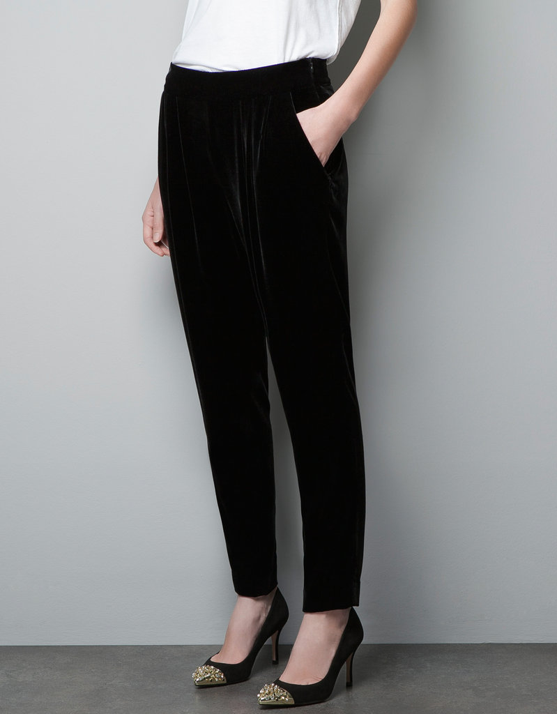 These Zara Velvet Harem Pants ($90) for the full velveteen effect. Try out this look for your next cocktail party for a new twist of evening wear.